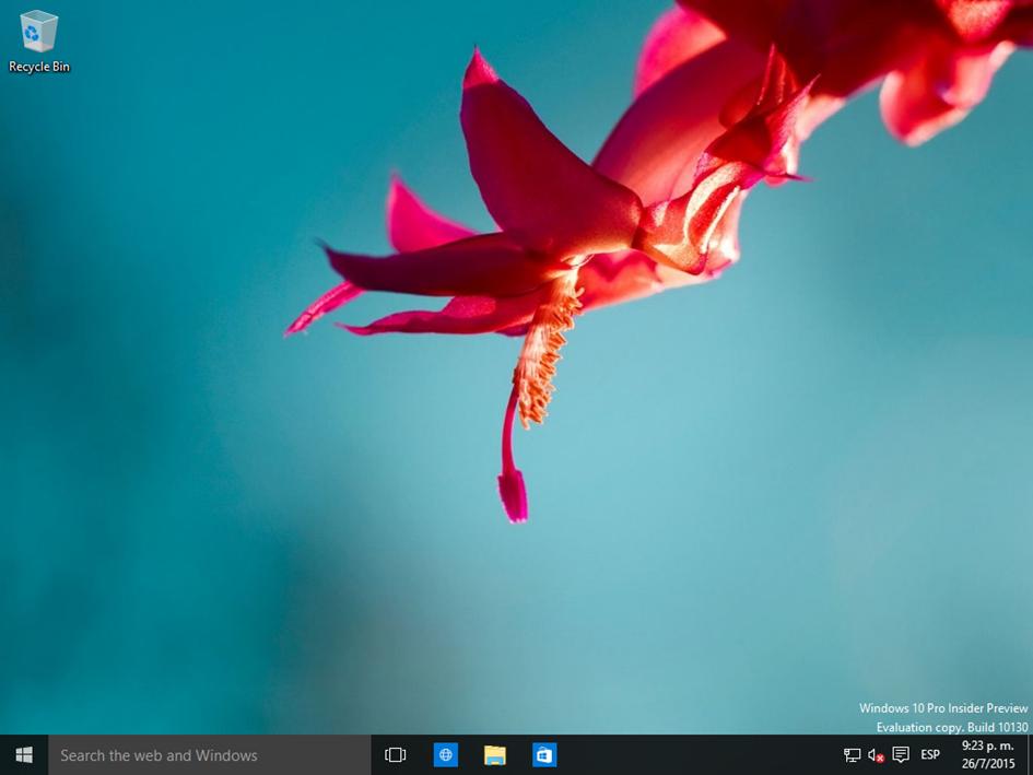 Ilustración 36 – Inicio de Sesión en Windows 10 Build 10130. Escritorio de Windows.