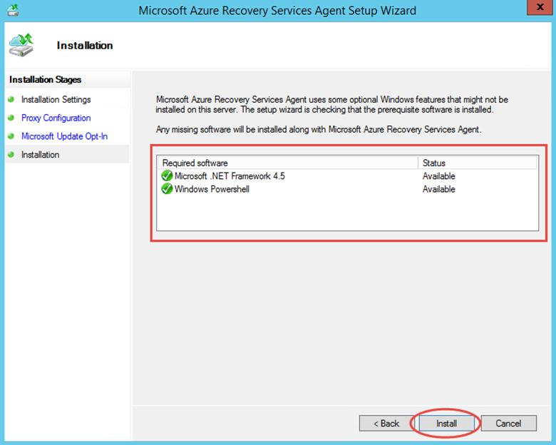 Ilustración 10 – Instalación de Agente de Azure Backup en Windows Server. Inicio de Instalación.