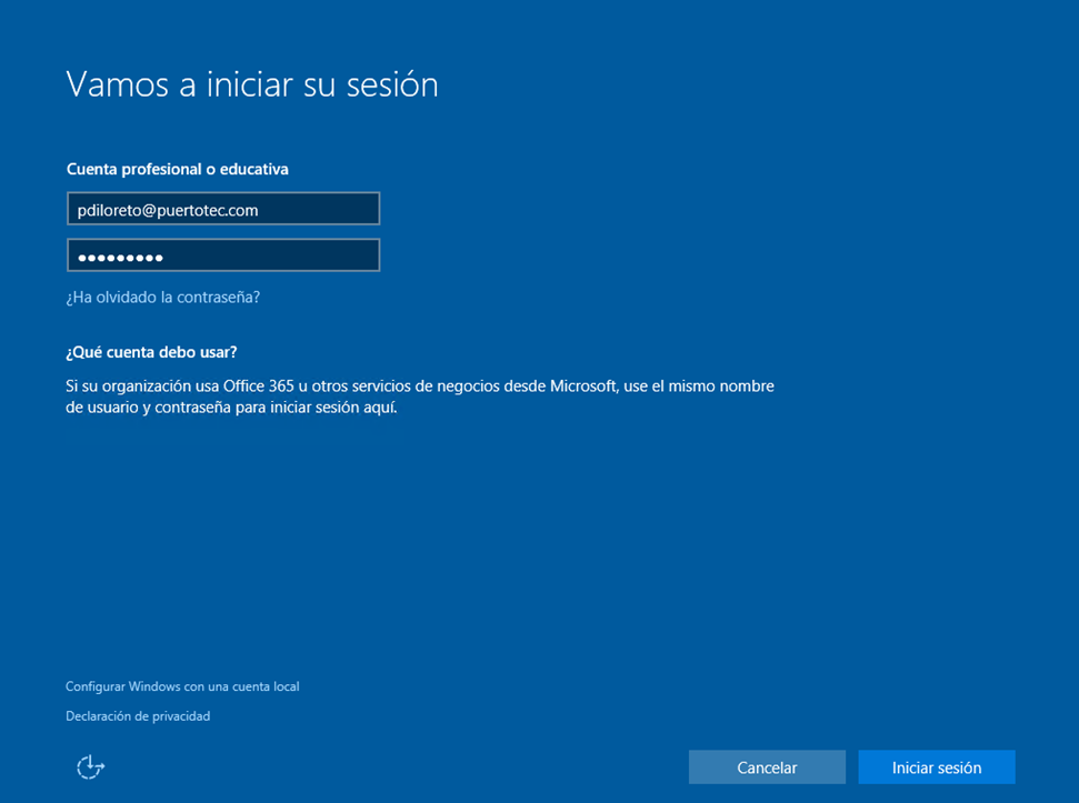 Ilustración 3 – Instalación de Windows 10 Build 10074. OOBE de Windows 10 para Enterprises. Inicio de Sesión con cuenta Office 365 ó Azure Active Directory.