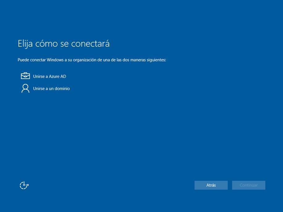 Ilustración x – Instalación de Windows 10 Build 10130. OOBE de Windows 10 Professional. Selección de registro en Azure AD o en un Servicio de Directirio basado en ADDS.