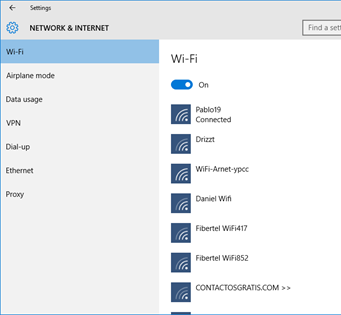 Ilustración 1 -Administrador de Redes e Internet en Windows 10 Desktop.