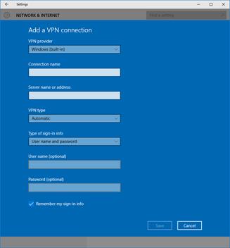 Ilustración 7 - Alta de una nueva conexión de tipo VPN en Windows 10 Desktop.