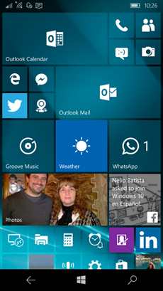 Ilustración 3 – Menú Inicio en Windows Mobile.