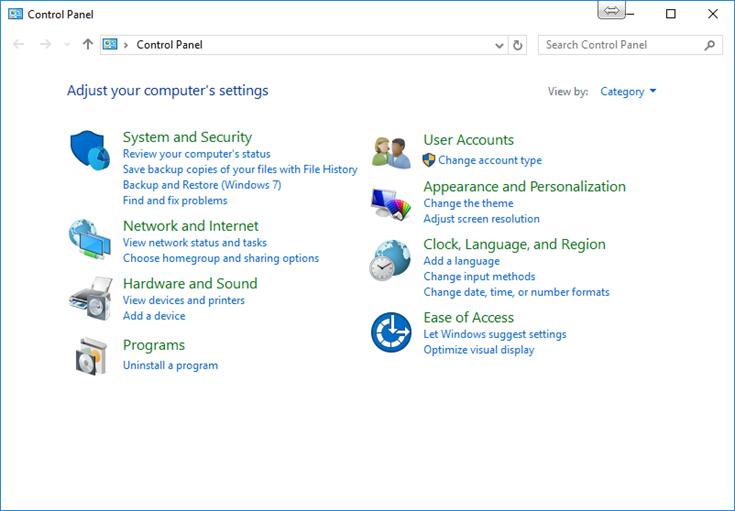 Ilustración 3 – Panel de Control en Windows 10 Desktop.
