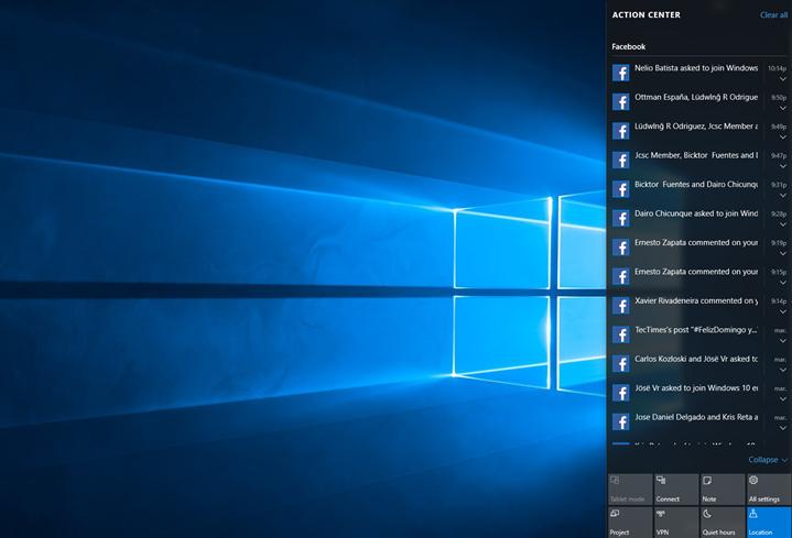 Ilustración 4 – Centro de Actividades en Windows 10 Desktop.